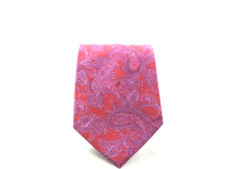 Red and Purple Paisley Silk Tie - Miguel's Men's Wear