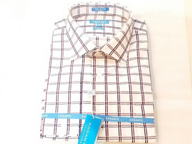 Burgundy Blue Plaid French Cuff Shirt - Miguel's Men's Wear