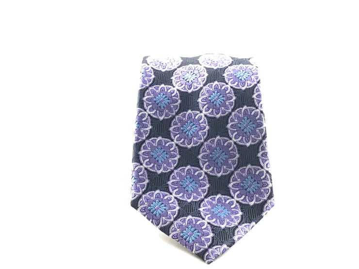 Black Purple Medallion Tie - Miguel's Men's Wear