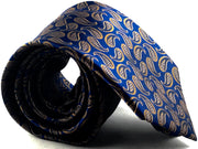Blue Brown Paisley Silk Tie - Miguel's Men's Wear
