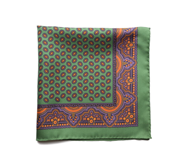 Pocket Square Green - Purple Neat - Miguel's Men's Wear
