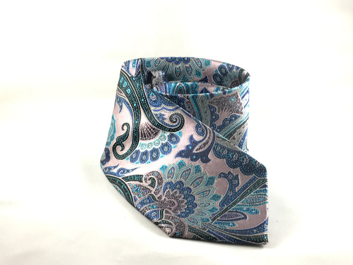 Pink and Peacock Paisley Silk Tie - Miguel's Men's Wear