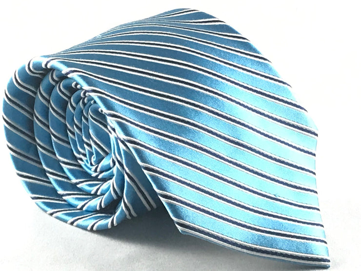 Blue Stripe Silk Tie - Miguel's Men's Wear