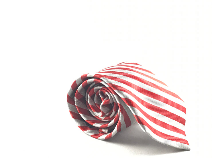 Red White Stripe Silk Tie - Miguel's Men's Wear