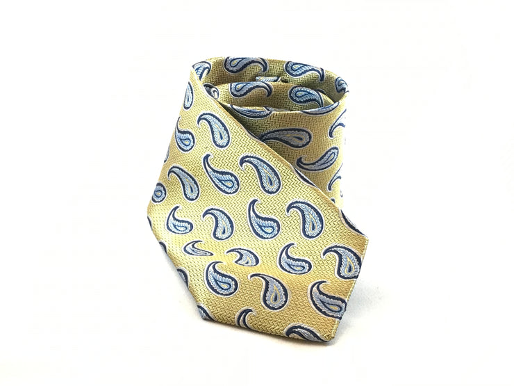 Yellow and Blue Paisley Silk Tie - Miguel's Men's Wear