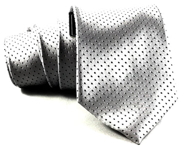 Silver Dotted Formal Silk Tie - Miguel's Men's Wear