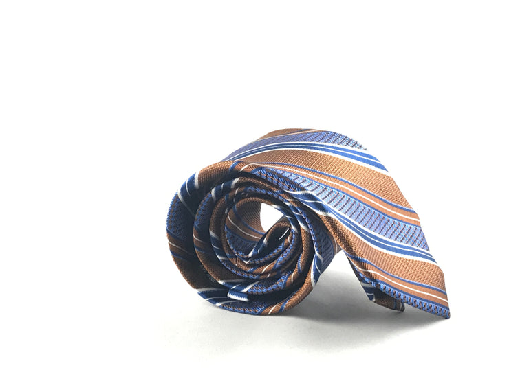 Brown Blue Stripe Silk Tie - Miguel's Men's Wear