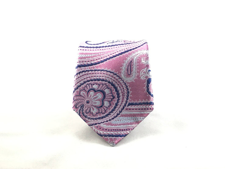 Pink and Blue Paisley Silk Tie - Miguel's Men's Wear