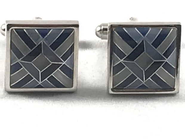 TOM ORR Blue Aztec Cufflinks - Miguel's Men's Wear