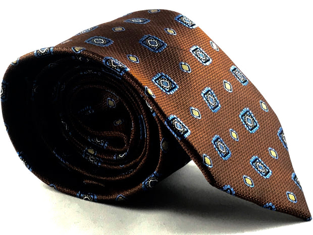 Brown Blue Medallion Silk Tie - Miguel's Men's Wear