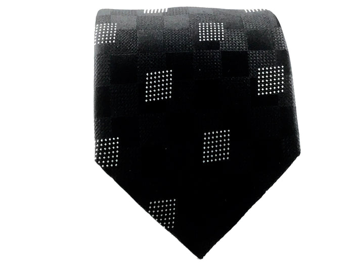 Black Medallion XL Long Silk Tie - Miguel's Men's Wear