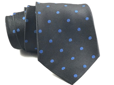 Black and Blue Polka Dot Silk Tie - Miguel's Men's Wear