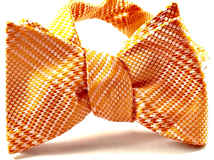Orange Silver Plaid Bowtie - Miguel's Men's Wear