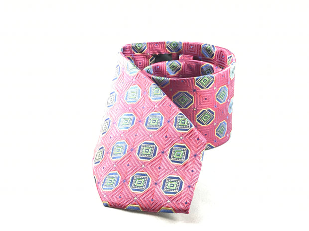 Pink and Blue Medallion Silk Tie - Miguel's Men's Wear
