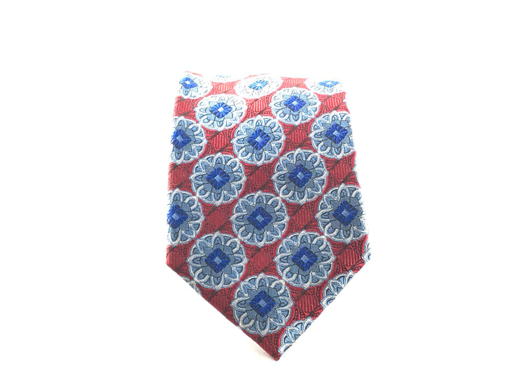Red and Silver Medallion Silk Tie - Miguel's Men's Wear