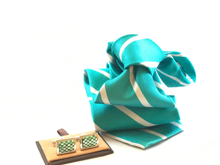 Seafoam Green with White Stripe Silk Tie - Miguel's Men's Wear