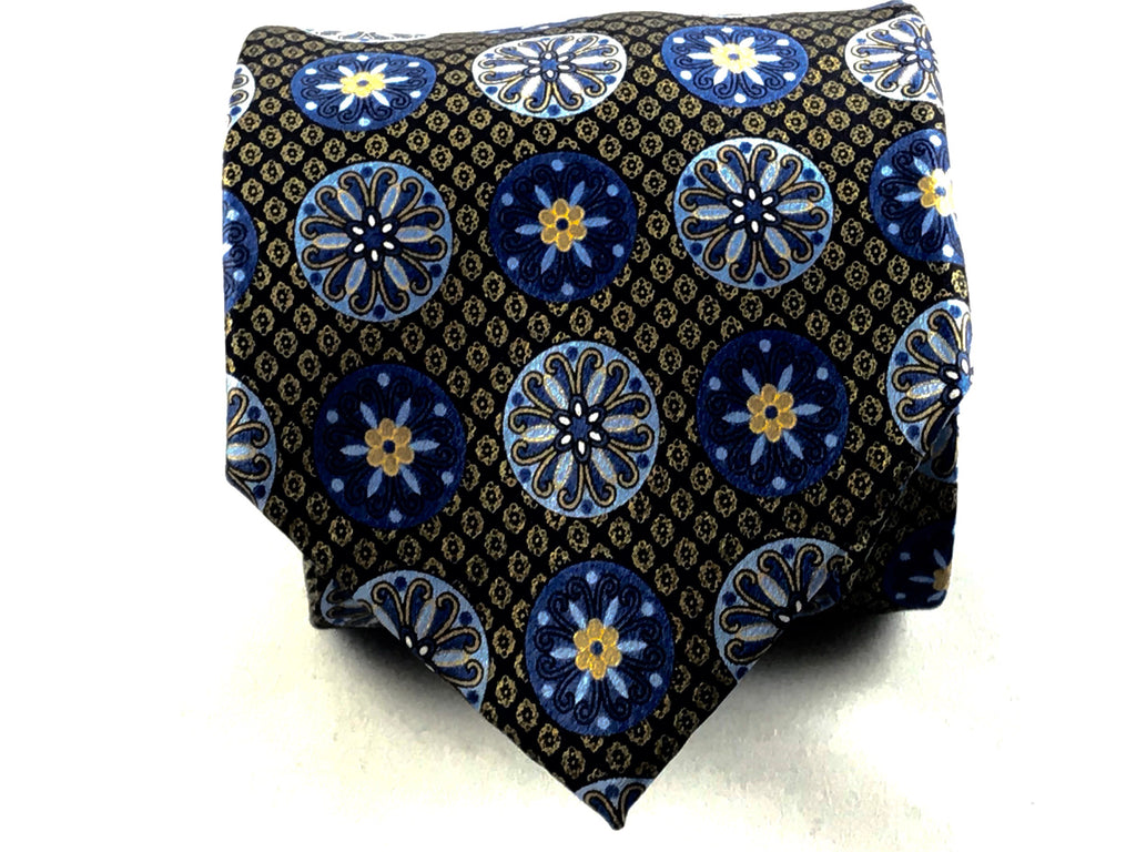 Brown Blue Neat Silk Tie - Miguel's Men's Wear