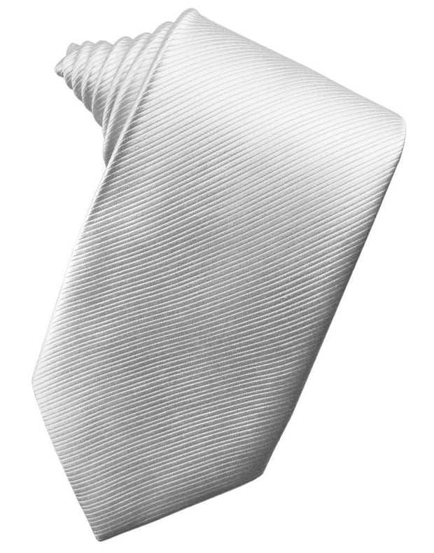 Silver Faille Silk Necktie - Miguel's Men's Wear