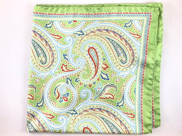 Green Paisley Pocket Square - Miguel's Men's Wear