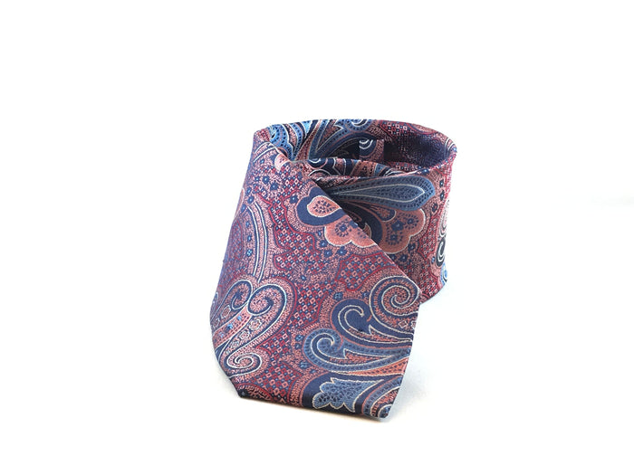 Paisley Pink & Blue Silk Tie - Miguel's Men's Wear