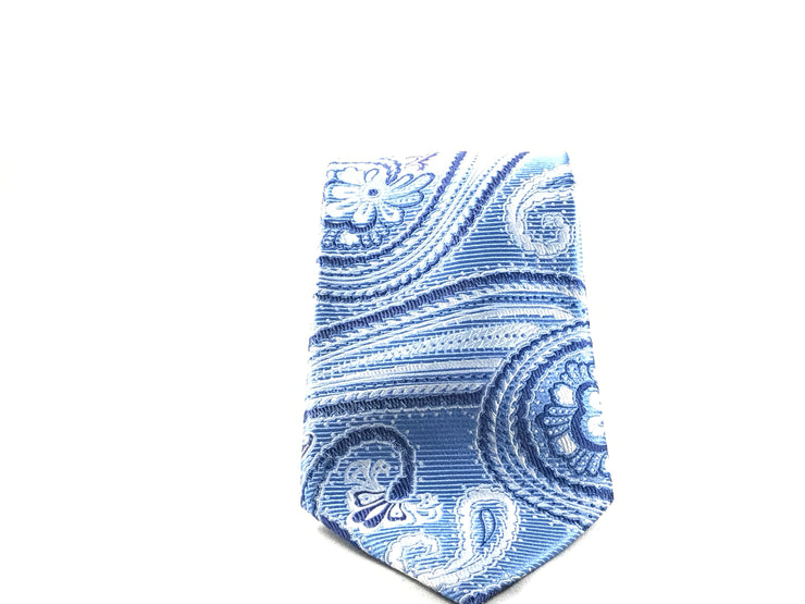 Light Blue Paisley Silk Tie - Miguel's Men's Wear