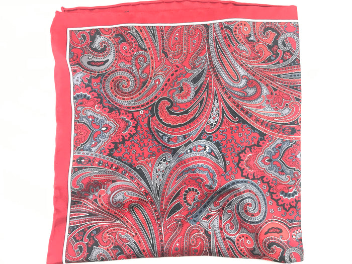 Red Paisley Pocket Square - Miguel's Men's Wear