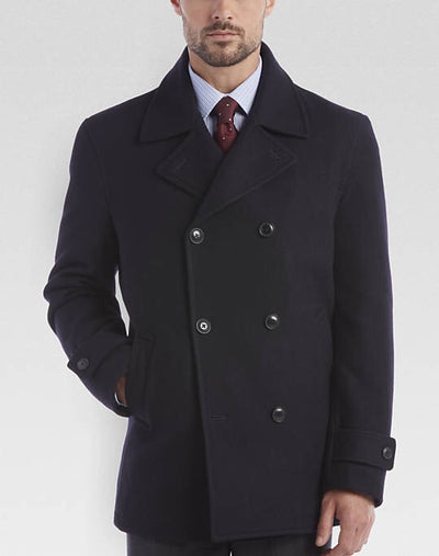 Dark Navy Double-Breasted Modern Fit Peacoat - Miguel's Men's Wear