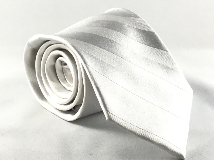 Tone On Tone White Stripe Silk Tie - Miguel's Men's Wear
