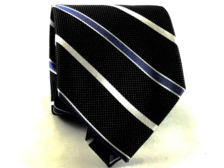 Black Stripe XL Long Silk Tie - Miguel's Men's Wear