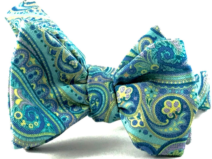 Mint Green Blue Ornate Paisley Bow Tie - Miguel's Men's Wear