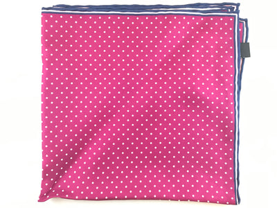Fuchsia Polka Dot Pocket Square - Miguel's Men's Wear