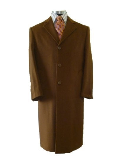 Men's Brown Topcoat Full Length (Sample) - Miguel's Men's Wear