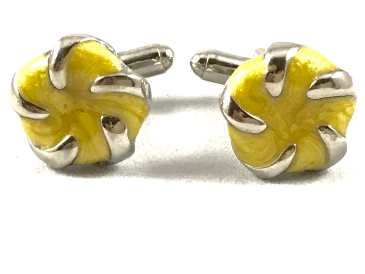 Yellow Floral Cufflinks