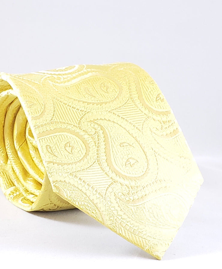 Yellow Paisley Silk Tie - Miguel's Men's Wear
