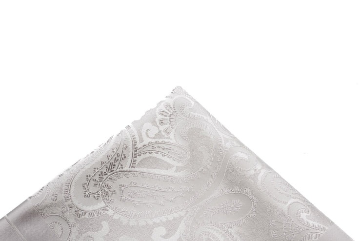 Pocket Square Silver Tonal Paisley - Miguel's Men's Wear