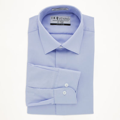 Light Blue Cotton Laydown Collar Shirt - Miguel's Men's Wear