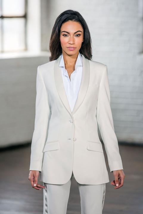 Diamond White Shawl Collar Ladies Long Tuxedo Jacket - Miguel's Men's Wear