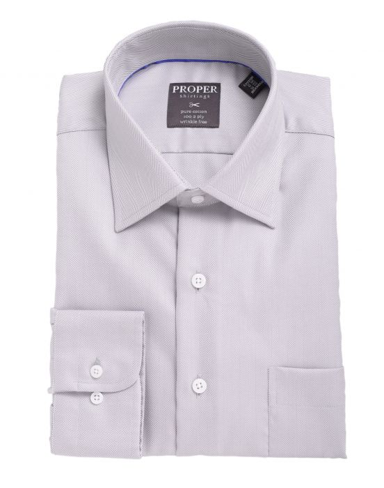 Herringbone Spread Collar 100 2 Ply Cotton Dress Shirt - Miguel's Men's Wear