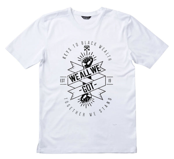 White - Keys to Black Wealth Short Sleeve T-Shirt (We all We Got)