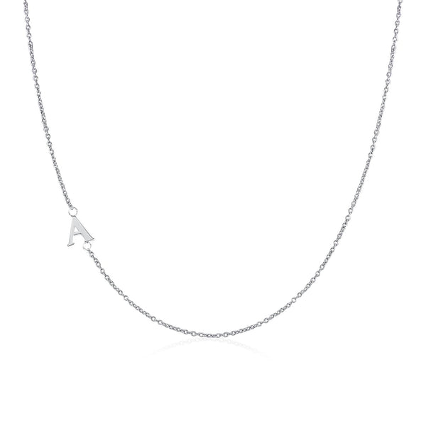 Moody Mood-Accessories-.925 Sterling Silver Sideway Letter A Necklace (18k white gold plating)