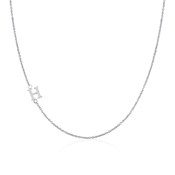 Moody Mood-Accessories-.925 Sterling Silver Sideway Letter H Necklace (18k white gold plating)
