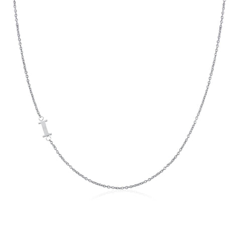 .925 Sterling Silver Sideway Letter I Necklace (18k white gold plating)