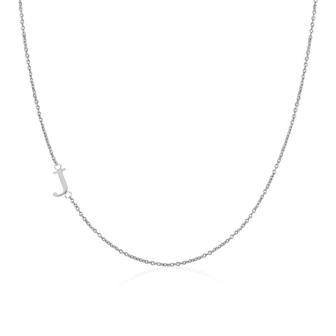 .925 Sterling Silver Sideway Letter J Necklace (18k white gold plating)