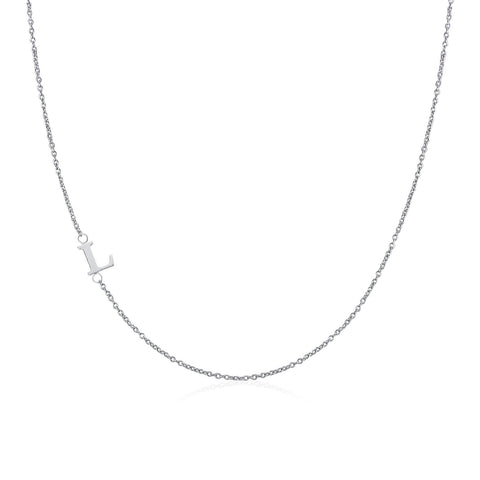 .925 Sterling Silver Sideway Letter L Necklace (18k white gold plating)