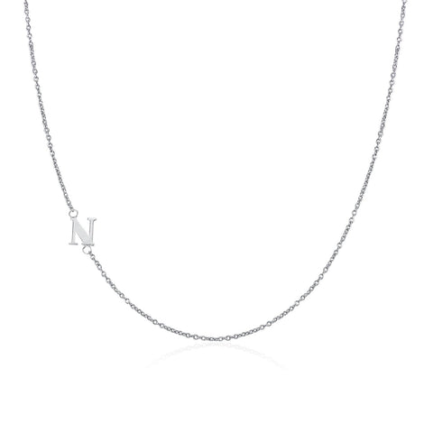 .925 Sterling Silver Sideway Letter N Necklace (18k white gold plating)