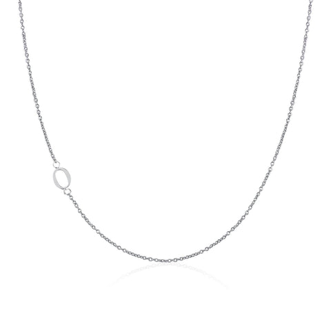 .925 Sterling Silver Sideway Letter O Necklace (18k white gold plating)