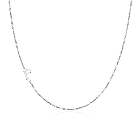 .925 Sterling Silver Sideway Letter P Necklace (18k white gold plating)