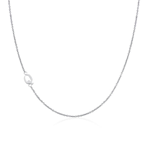 .925 Sterling Silver Sideway Letter Q Necklace (18k white gold plating)