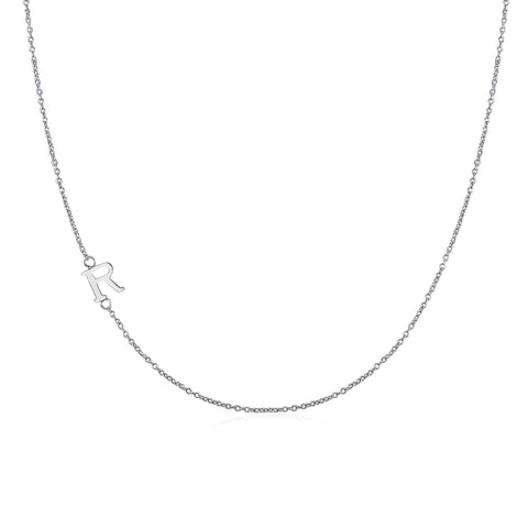 .925 Sterling Silver Sideway Letter R Necklace (18k white gold plating)