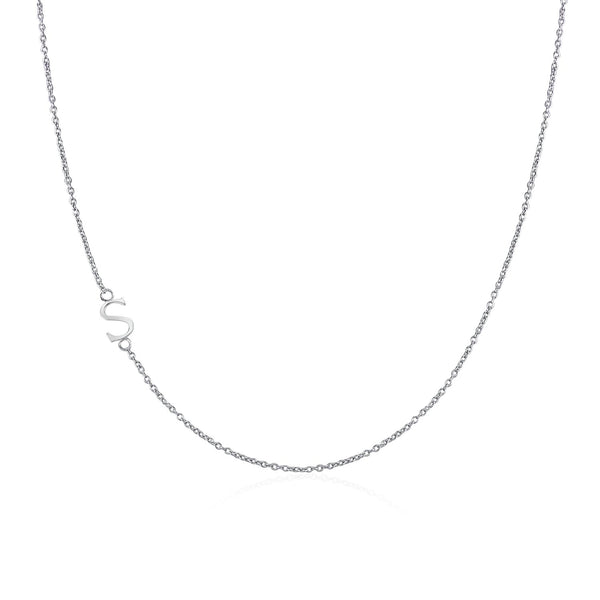 .925 Sterling Silver Sideway Letter S Necklace (18k white gold plating)